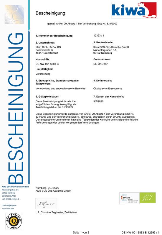 Zertifikat BCS Klein Geflügelfeinkost