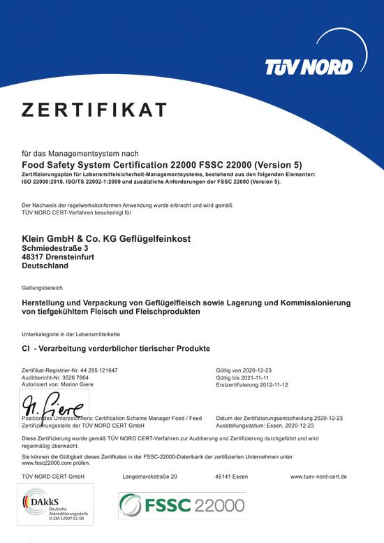 Zertifikat FSSC Klein Geflügelfeinkost