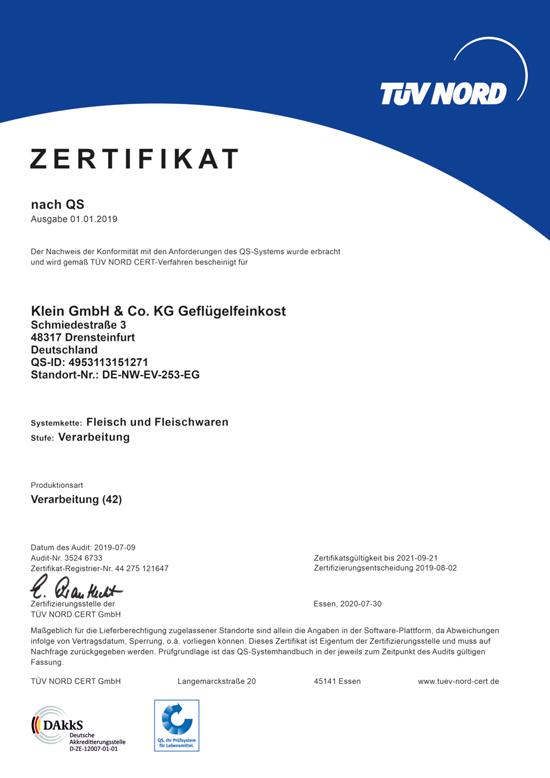 Zertifikat QS Klein Geflügelfeinkost