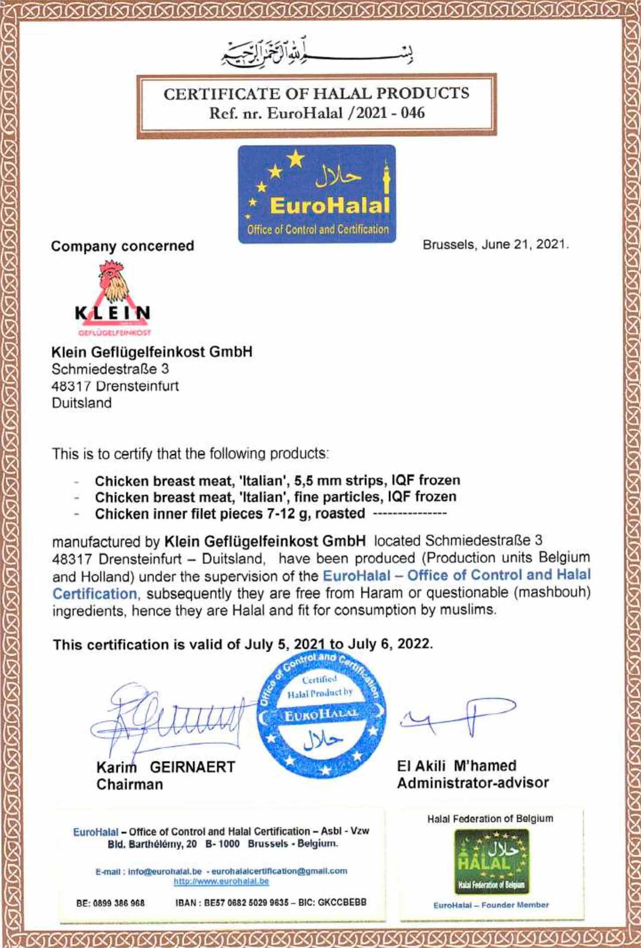 Halal Zertifikat 2021